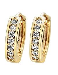 24K Gold Cubic Zirconia Round Hoop Earrings Filled Clear Design Ladies Womens Fashion Earrings for Girls Zircon A2121
