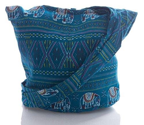 Bag Bohemian Hippie Pattern Purse Cross Geometry Sling Avarada Thai Elephant Stitch Teal Messenger Crossbody Cotton Hobo Yn4H1xHUC