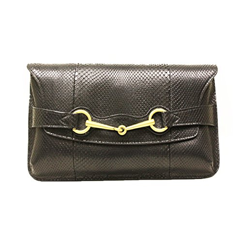 Gucci Horsebit Black Python Large Clutch Bag 317638 by Gucci