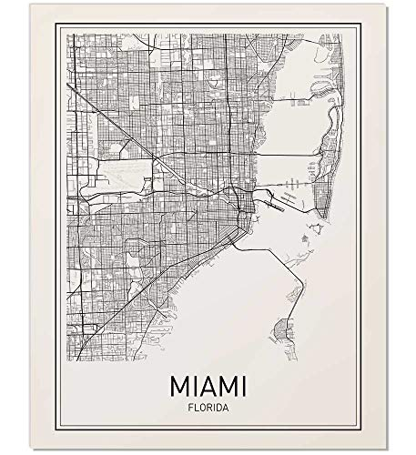 Print Map Of Florida.Amazon Com Miami Map Map Miami Miami Map Art Florida Print City