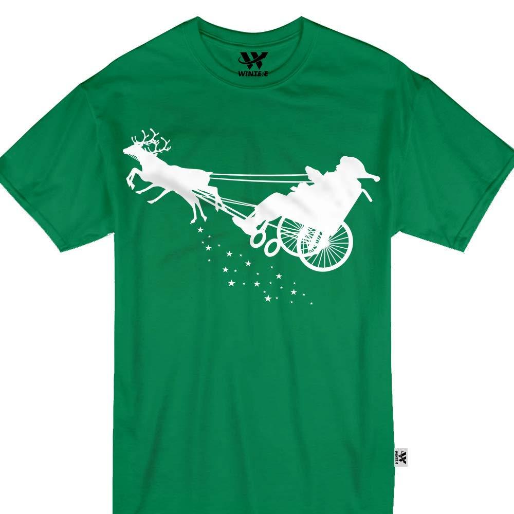 Wheelchair Santa Sleigh Funny Reindeer Ride Tshirt