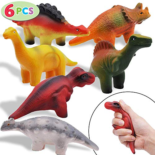 6 Pieces Dinosaur Squishy Toys Set for Slow Rising Stress Relief Super Soft Squeeze Dinosaur Toys