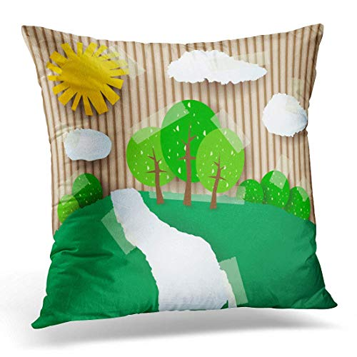 Dr-Drin fujianput Throw Pillow Cover Childish Green Cutout Coutryside Collage Sun Countryside Landscape Cardboard Decorative Pillow Case Home Decor Square 18