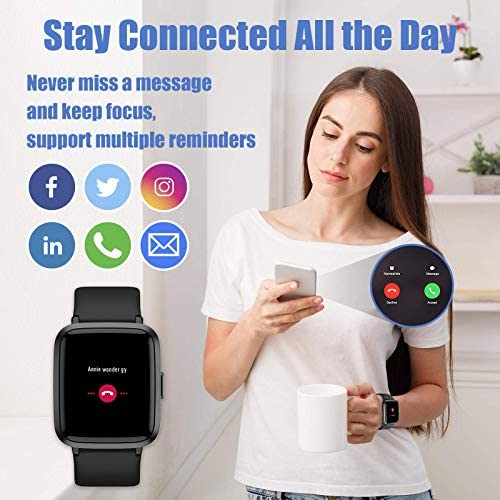 AIKELA Smart Watch Fitness Tracker for Android Phones and Compatible iPhone, Smartwatch with Blood Oxygen Meter, Blood Pressure Monitor, 5ATM Swimming Waterproof, Fitness Watch for Women and Men