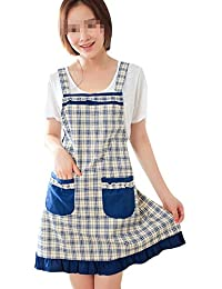 Purchase Sealike Grid Ruffles Apron Cooking Cook Princess Apron with Pocket for Women Girls with Stylus Blue saleoff