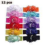 Dealzip Inc 12 PCS Cute Style Headbands Hair Accessories for Baby Infant Girls Pearls Bowknot Embelliahed Chiffon Flower Lace Band Design