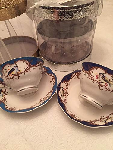 Glass Sherbert Dishes - Graces Teaware Set of 2 Cups Saucers Birds in Blue in A Box-New