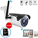 Mbangde Wireless WIFI Weatherproof 720P 1.0MP P2P IP Outdoor Bullet Camera Home Security Surveillance with 36 IR Cut,Built-in 8G TF Card,Motion Detection Alert,65ft Night Vision Distance)