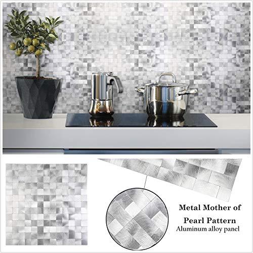 HomeyStyle Peel and Stick Tile Backsplash for Kitchen Wall Decor Aluminum Surface Metal Mosaic Tiles Sticker,Silver Subway 12