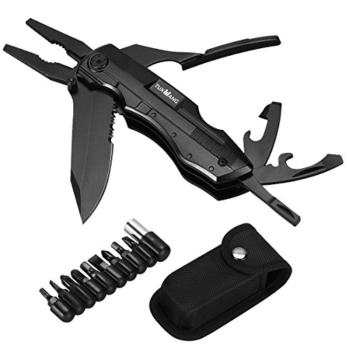 Multitool Knife TUXWANG Multi-Purpose Foldable Knife Multitool Plier, Black Oxide Stainless Steel Multi Tool for Outdoor Survival, Camping, Fishing, Hunting, Hiking, House and Office by TUXWANG