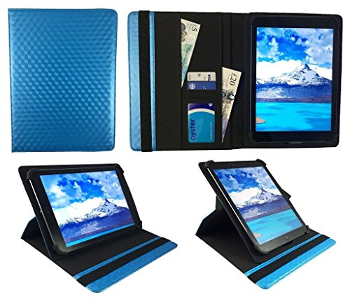 Sweet Tech Rotor 10.1 Inch Android/Windows Tablet PC Blue 3D Cube Universal 360 Degree Rotating PU Leather Wallet Case Cover Folio (9-10 inch)