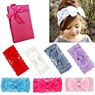 Elesa Miracle Hair Accessories Sweet Baby Girl's Gift Box with Chiffon Lace Hair Bow Flower Headband (7pc lace bow)
