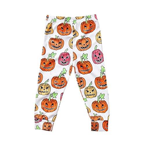 KaiCran Toddler Kids Baby Boys Girls Cartoon Outfits Skinny Pants Leggings Halloween Clothes (Orange, 120(3-4 Years)) -