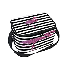 ALAZA Black White Striped Pink Flamingo Insulated Lunch Bag Tote Bag Cooler Lunchbox for Picnic School Women Men Kids