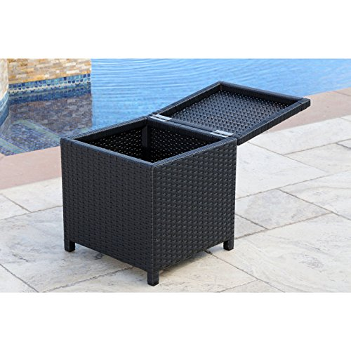 Abbyson Living Newport Outdoor Black Wicker Storage ... on Outdoor Living Wicker id=53461