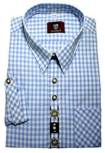 Orbis 0106 Trachtenhemd hellblau weiß kariert mit Stickerei Krempelarm bequemer Schnitt Maßtabelle Foto links beachten M bis 4XL
