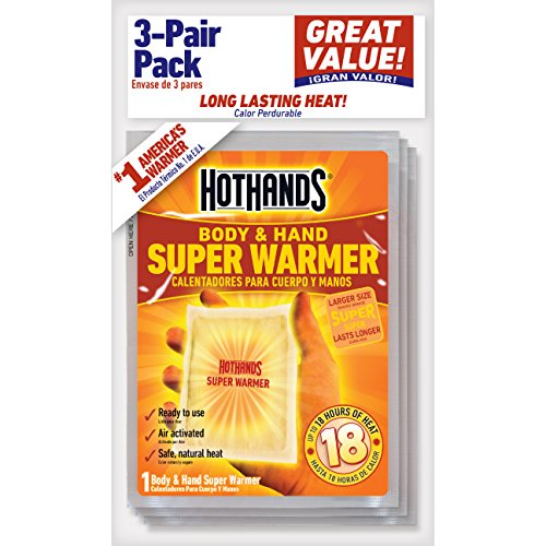 Review HotHands Body & Hand Super Warmers – Long Lasting Safe Natural Odorless Air Activated Warmers – Up to 18 Hours of Heat – 3 Individual Warmers