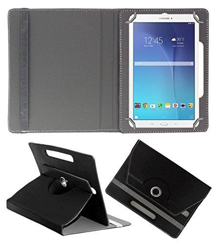 Acm Rotating 360 Leather Flip Case Compatible with Samsung Galaxy Tab E 9.6 T561 Tablet Cover Stand Black