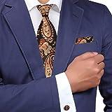 H8017 Black Wedding Gift Brown Pattern Easter Sunday Gift Silk Tie Cufflinks Hanky Set 3PT By Y&G