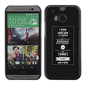 ROKK CASES / HTC One M8 / LOVE LIFE - TYPOGRAPHY / Delgado Negro Plástico caso cubierta Shell Armor Funda Case Cover