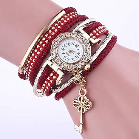 TCEPFS Reloj Dorado Mujer Reloj de Pulsera con Colgante de Diamantes Antiguos de Moda para Mujer Reloj Casual de Mujer Reloj de Cuarzo
