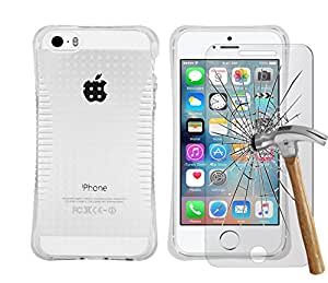 LOLO® Clear Funda de gel Cojín de esquina, Parachoque TPU para Apple iPhone 6G / 6S - Transparent Protective Estuche cubierta con Protector de Pantalla de Templado / Tempered Glass y pen retráctil Stylus