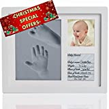 Amazing Baby Handprint and Footprint Frame Kit – Keepsake Preserves Memories – Non Toxic and Safe BIO-foam – Quality Wood Frame - Baby Gift For Baby Registry (Turquoise)