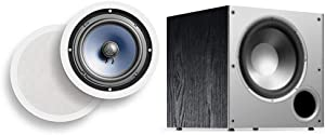 "Polk Audio RC80i 2-way Premium In-Ceiling 8"" Round Speakers (White, Paintable Grille) & Audio PSW10 10"" Powered Subwoofer - Featuring High Current Amp and Low-Pass Filter 
