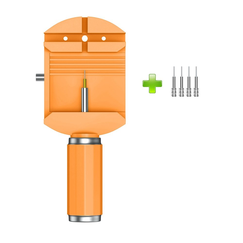 Orcbee  _Professional Watch Band Bracelet Link Remover Adjust Repair Tool +4 Spare Pins (Orange)
