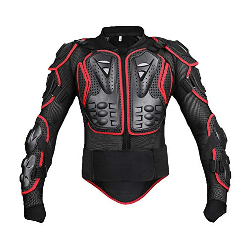 Lotus.flower Motorcycle Full Body Armor Protector Removable Racing Jacket Motocross Spine Chest Motocross Protective Shirt Black/Red (L, Red) (Spine Removable)