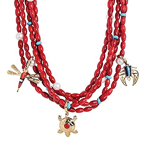 Five-Strand Red Coral Necklace with Multi Gemstone Brass Charms - Coral 3 Strand Necklace