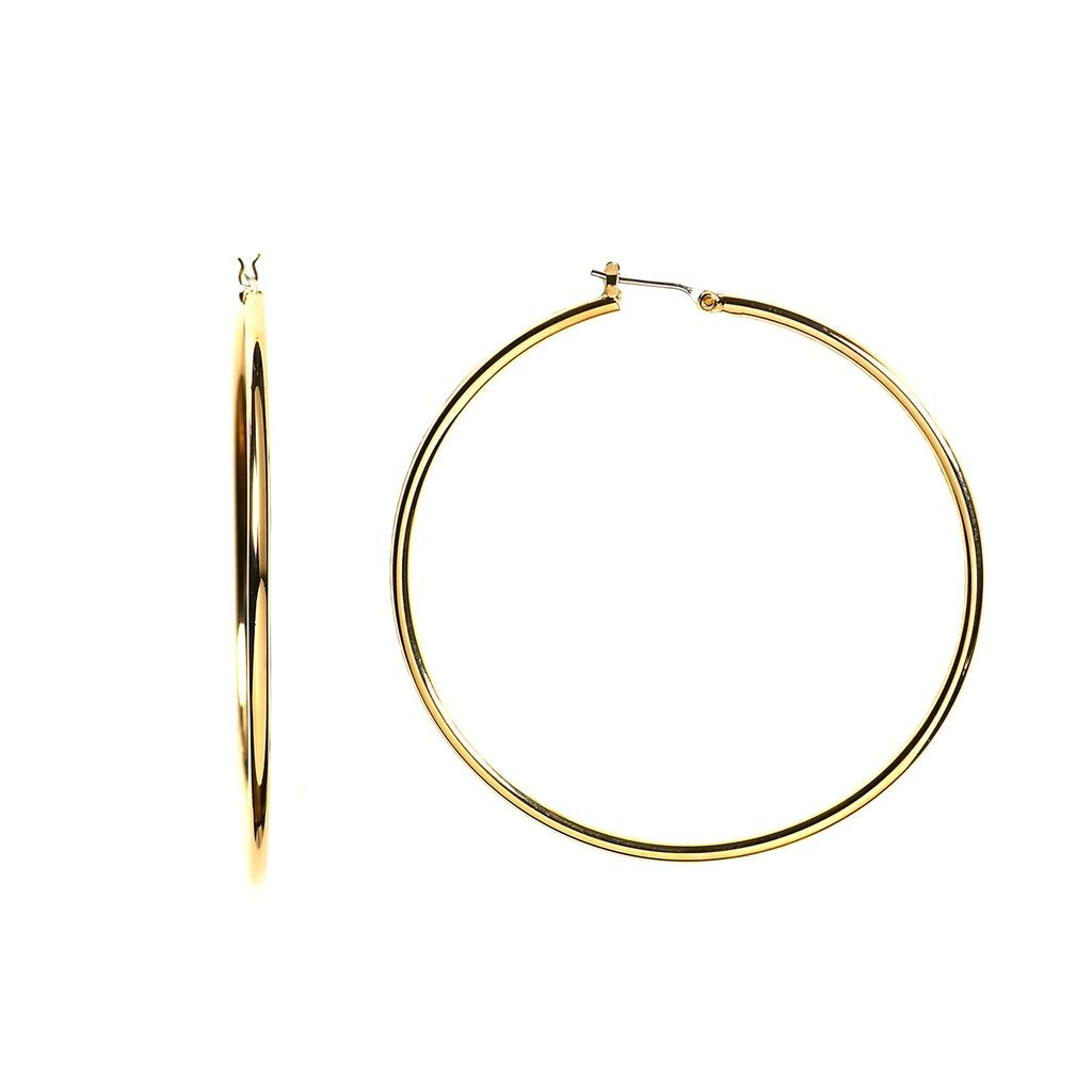 14k REAL Yellow Gold 45MMx1.5MM Thickness Classic Polished Round Tube Hoop Earrings with Snap Post Closure For Women