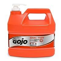 GOJO NATURAL ORANGE Limpiador de manos industrial pómez, Loción de acción rápida de 1 galón Limpiador de manos con botella de bomba de piedra pómez - 0955-04