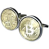 Gold Bitcoin Cufflinks- Gold plated - 100% Satisfaction Guarantee - Presentation box included