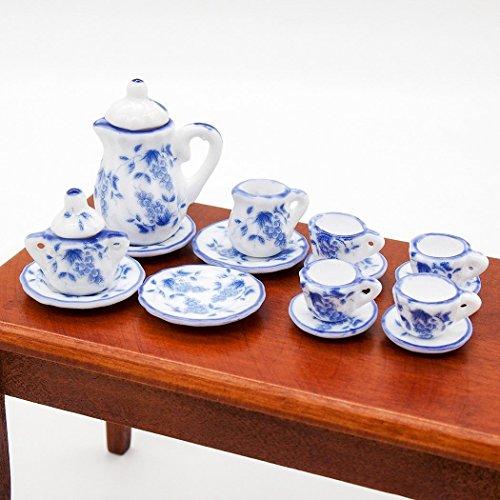 Miniature Porcelain Tea Set (Odoria 1:12 Miniature 15PCS Blue Porcelain Tea Cup Set Blue Chintz Dollhouse Kitchen Accessories )