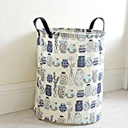 Pauwer Fabric Nursery Hamper Canvas Laundry Basket Foldable with Waterproof PE Coating Large Storage Laundry Hamper for Kids Boys and Girls Office, Bedroom, Clothes, Toys(17.3 x13.8 ,Bottles)
