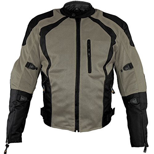 Xelement XS3033 Cyclone Mens Black/Grey Mesh Tri-Tex Armored Motorcycle Jacket - 2X-Large (Xelement Motorcycle Jacket)