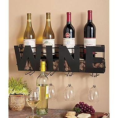 Metal Wall Mount Wine Bottle Rack: Hold Wine Corks & Wine Glasses