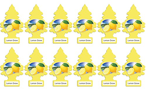 LITTLE TREES Car Air Freshener | Hanging Paper Tree for Home or Car | Lemon Grove | 12 Pack