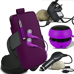 ONX3 Nokia 225 Dual SIM Leather Slip Protective PU de cordón en la bolsa del lanzamiento rápido con Mini capacitivo Stylus Pen retráctil, 3.5mm en auriculares del oído, mini altavoz recargable Cápsula, 360 Rotación del parabrisas del coche horquilla del sostenedor del montaje, Micro USB CE aprobó 3 Pin Cargador, 12v Micro USB cargador de coche (púrpura)