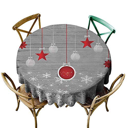 Zmlove Christmas Indoor and Outdoor Polyester Tablecloth Traditional Celebration Theme with Pendant Stars Baubles Ornate Snowflakes Excellent Durability Grey Red White (Round - 51