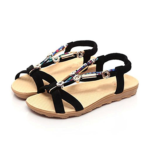 las mujeres Correa de flip flop correa clip playa Gladiador del romana T zapatillas Zapatos sandalias de correa tobillo mujeres punta del de Scothen sandalias de planos las Trenzado Negro de las los FqI7pX
