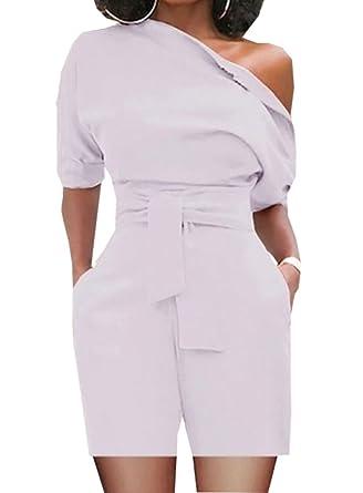 3d789f51c907ff Carolilly Chic Combinaison ou Combi-Short Femme Epaules Dénudées Manches  Courtes à La Mode