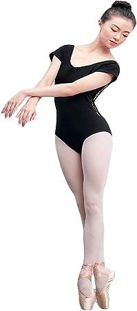 HLW Sports-cloth Leotardos de Ballet con Cuello Halter para Mujer Mujeres Gimnasia Baile Ballet Leotardo Encaje Empalme Manga Corta Espalda Abierta Body para Dormitorio Balcón Sala de Estar Estudio: Amazon.es: Hogar