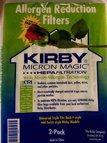 Kirby Vacuum Cleaner Disposable Cloth Paper Bags White Hepa Bags 2 Pack Universal Style Fits ALL Kirby Models
