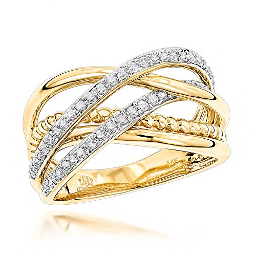 Luxurman 14K Gold Right Hand Unique Womens Natural Diamond Ring (Yellow Gold Size (Pave Engagement 18k Ring)