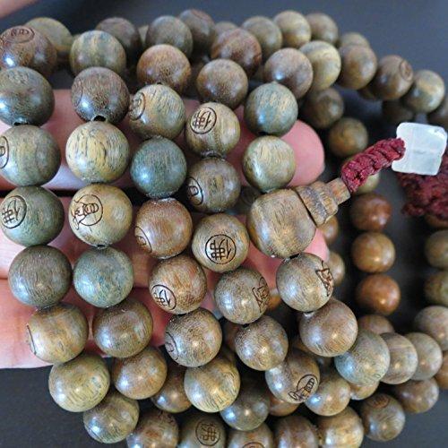 10mm*108 Buddha Green Sandalwood Prayer Beads Buddhist Sutra Mala Carved Buddha Wheels Miyallu (Ship from Canada)