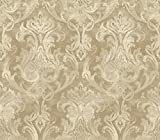 Chesapeake ARS26039 Elsa Bronze Ornate Damask Wallpaper, Brown