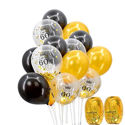 "60th Birthday Balloons - 12"" Gold and Black Latex Balloons C"