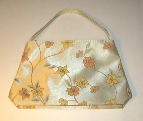 Avon Satin-Sheen Floral Sparkling Cosmetic Bag with Handle